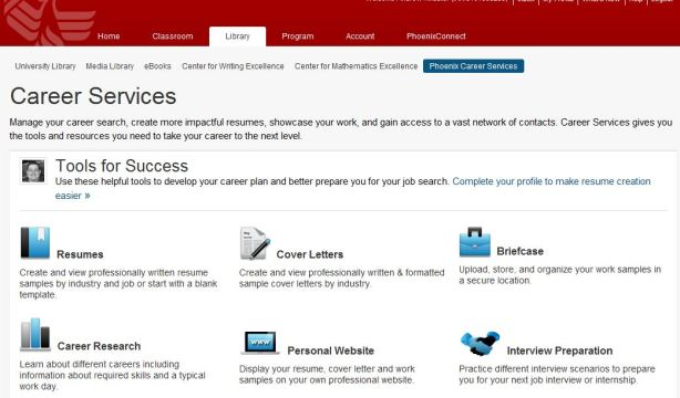 University of Phoenix career services page